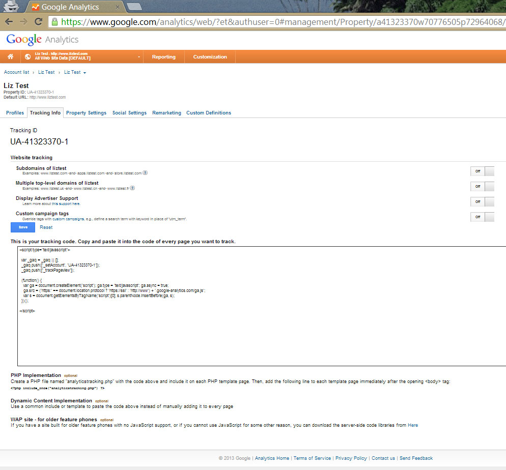 Installing Google Analytics Tracking ID Screenshot