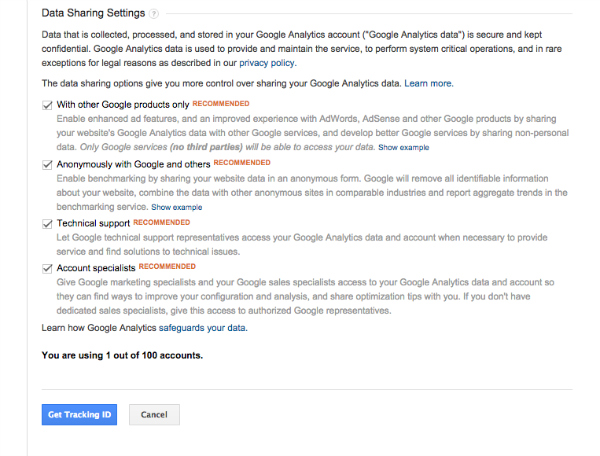 Screenshot 2 of 2 for Setting Up Google Analytics Account Details