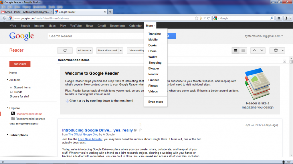 Log into Gmail and Click More