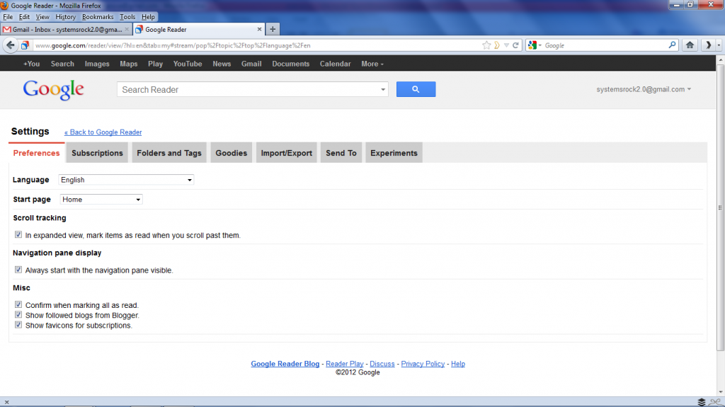 Click Settings in Google Reader