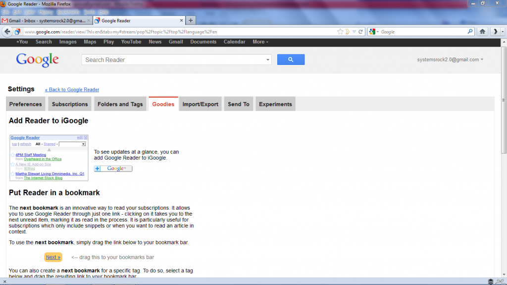 Head to Goodies in Google Reader